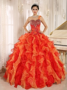 Orange Red Ruffles Quinceanera Dress One Shoulder Beaded