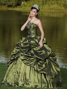 Strapless Olive Green Quinceanera Dress Beaded Taffeta
