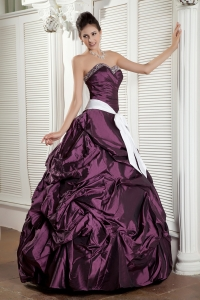 Sash Quince Dress Dark Purple Ball Gown Sweetheart Taffeta