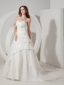 A-line Wedding Gown Court Train Organza Appliques Sweetheart