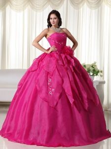 Fuchsia Hand Flower Quinceanera Dress Ball Gown Embroidery