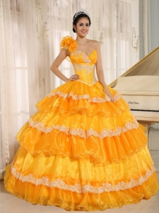 Dress for Quince One Shoulder Appliques Ruffled Layers Orange