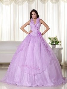 Lavender Halter Quinceanera Dress Chiffon Embroidery Beaded