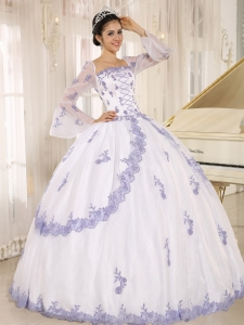 Lilac White Embroidery Organza Square Long Sleeves Ball Gown