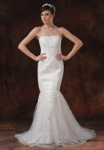 Trumpet Wedding Dress Lace Tulle Strapless Sweep Train