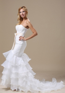 Mermaid Wedding Gown Sash Ruffles Layered Lace Organza