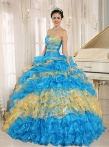 Quinceanera Dress Ruffles Multi-color Appliques Sweetheart