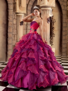 Multi-color Ruffled Quinces Dress Ball Gown Strapless Organza