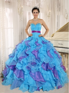 Multi-color Quinceanera Dress Appliques Sweetheart Ruffles