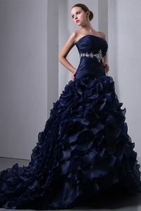 Navy Blue Sweet 16th Birthday Dress Brush Train Beading