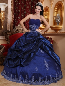 Taffeta Appliques Quinceanera Dress Navy Blue Sweetheart