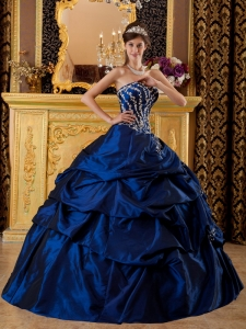 Appliques Quinces Dress Royal Blue Taffeta Sweetheart