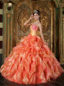 Orange Ruffled Quinceanera Dress Ball Gown Strapless Beading