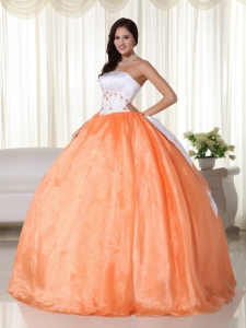 Organza Quinces Dress Ball Gown Strapless Orange Embroidery