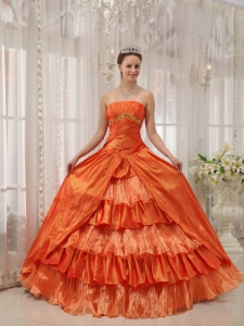 Orange Ball Gown Quinces Dress Strapless Taffeta Ruffles