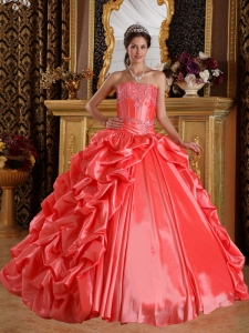 Orange Red Dress for Quinceanera Taffeta Embroidery Beading