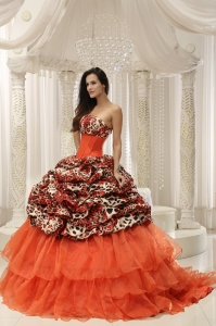 Leopard Quinceanera Ball Gown Organza Beaded Strapless