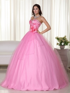 Rose Pink Hand Made Flowers Beading Quinceanera Dresses
