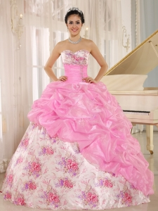 Printing Quinceanera Dress Rose Pink Sweetheart Beaded