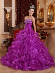 Organza Purple Ball Gown Beaded Ruffles Quinceanera Dresses