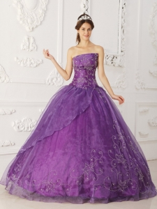 Strapless Satin Organza Sweet 16th Birthday Dress Beading Purple