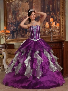 Purple Quinces Dress Sweetheart Organza Beaded Ball Gown