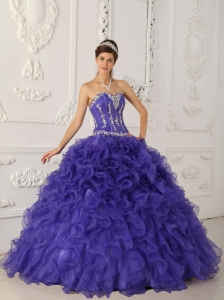 Appliques Quinces Dress Purple Sweetheart Ruffles Organza