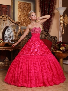 Fabric With Rolling Flowers Quinceanera Dress Red A-line Beading
