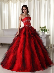 Ball Gown Quinceanera Dress Red Strapless Tulle Appliques