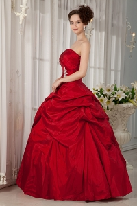 Red Quinces Dress Ball Gown Taffeta Strapless Appliques