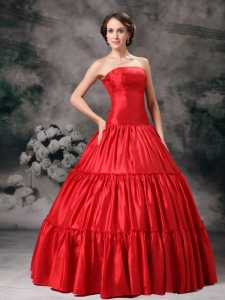 Taffeta Ruched Ball Gown Strapless Red Prom Evening Dress