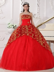 Red Tulle Quinceanera Dress Ball Gown Beading Ruch Strapless
