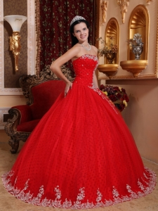 Lace Military Ball Gown Appliques Red Quinceanera Dress Tulle