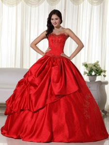 Dress for Quinceanera Red Ball Gown Embroidery Sweetheart