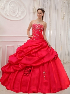 Sweetheart Sweet15thDress Red Ball Gown Taffeta Appliques