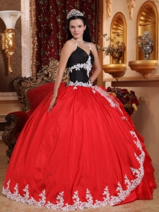 Halter Appliques Red and Black Quinceanera Dress Ruffles