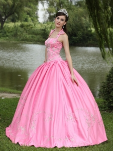 Square Neck Halter Top Beading Quinceanera Dress Rose Pink
