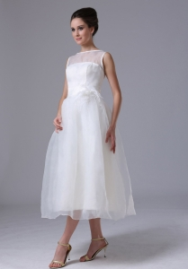 Bateau Beach Bridal Wedding Dresses Tea-length Organza