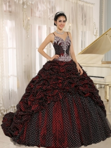Special Fabric Spaghetti Straps Quinceanera Gown Appliques
