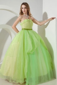 Embroidery Spring Green Ball Gowns Beading Prom Dresses