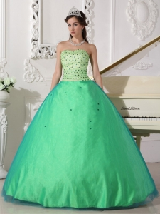Spring Green Ball Gown Beading Quinceanera Dresses Tulle