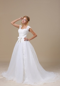 Cap Sleeves Wedding Bridal Dress Square Lace Sash Court Train