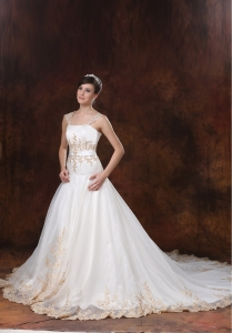 Organza and Satin Bridal Dress Straps Chapel Train Appliques