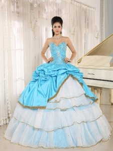Aqua Blue and White Beaded Pick-ups Quinceanera Dress Layers