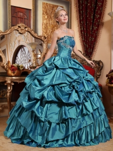Pick-ups Quinces Dress Teal Ball Gown Appliques Taffeta