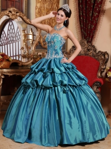 Teal Appliques Ball Gown Hand Flowers Quinceanera Dress