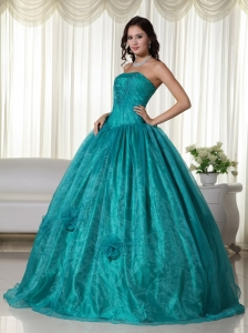 Turquoise Quinces Dress Ball Gown Strapless Organza Beaded