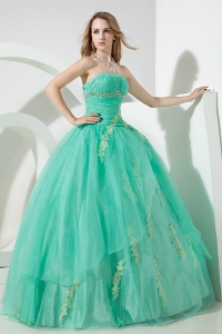 Embroidery Turquoise Ball Gown Beaded Ruch Quinceanera Dress