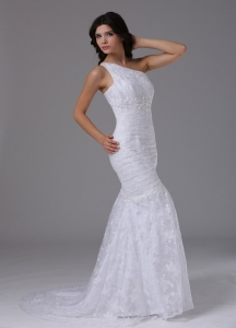 One Shoulder Mermaid Wedding Dress Lace Over Skirt Brush