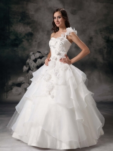 One Shoulder Quinces Dress Organza Appliques White A-line